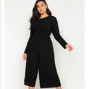Plus Woven Front Cullote Jumpsuit